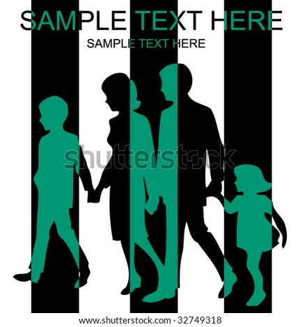 Vector silhouettes of parents with children, illustration - stock vector