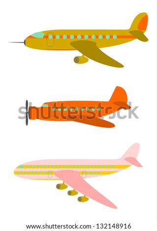 Vector. Silhouettes of passenger aircraft in a retro style on a white background. - stock vector