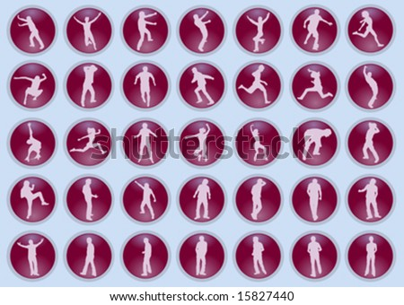 vector silhouettes of people in a sphere
