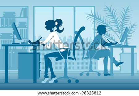 vector silhouettes of people in office - stock vector