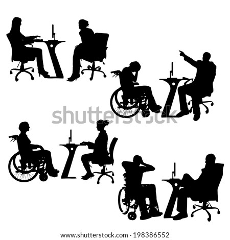 Vector silhouettes of people in the office on a white background. - stock vector