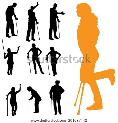 Vector silhouettes of people walking on crutches.
