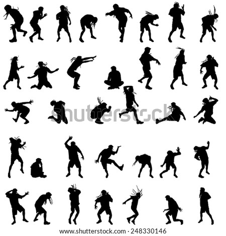 Vector silhouettes of people who dance on white background.