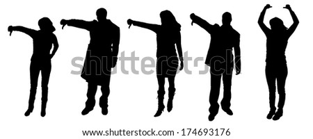 Vector silhouettes of people who show symbols fingers.