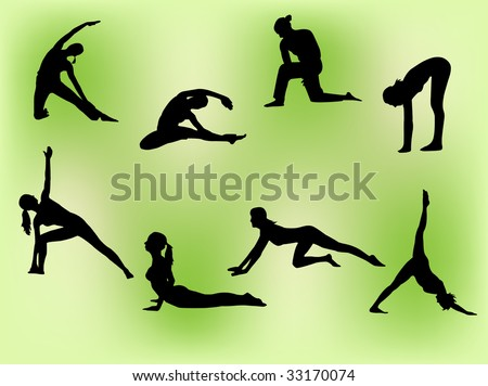 Vector silhouettes of several women doing stretching exercises. - stock vector