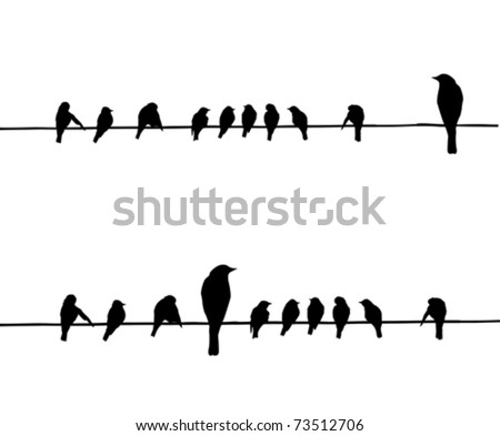 vector silhouettes of the birds on wire - stock vector