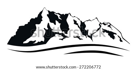 Vector silhouettes of the mountains range isolated on white.