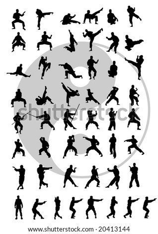 vector silhouettes of the people in combat rack