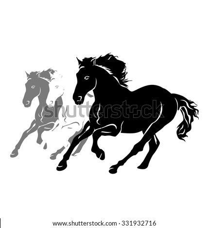 Vector silhouettes of three running horses - stock vector