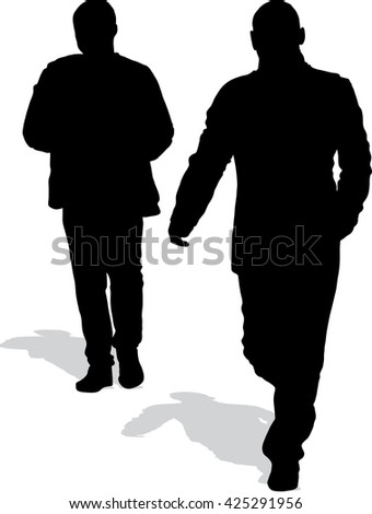 Vector silhouettes of two walking men