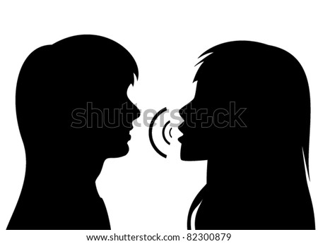 vector silhouettes of two young women. One is talking to the other. - stock vector