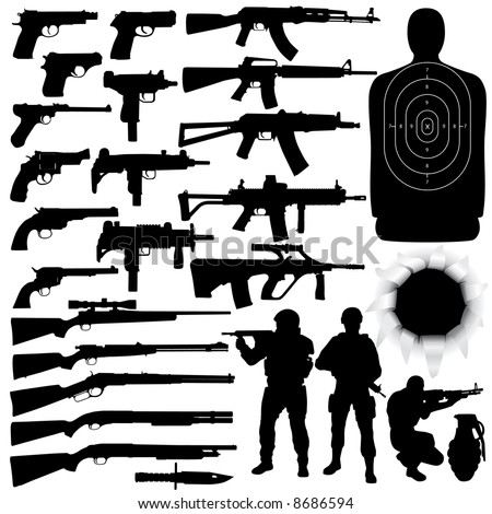 Vector silhouettes of various weapons (High detail) - stock vector