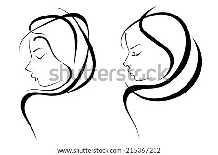 Vector silhouettes of woman hairstyles - stock vector
