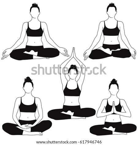 Vector silhouettes of woman in costume sitting in meditation yoga pose.