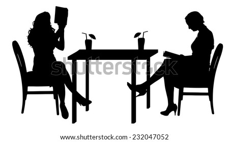 Vector silhouettes of women sitting at the table.