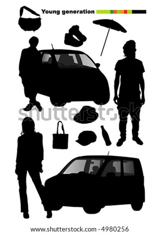 Vector silhouettes of young generation