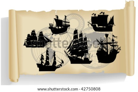 Vector silhouettes, old ship 1, vector illustration - stock vector