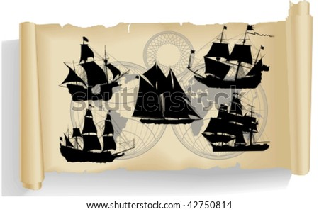 Vector silhouettes, old ship 3, vector illustration - stock vector