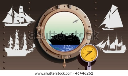 Vector silhouettes,  ship 3, vector illustration - stock vector