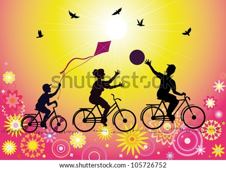 Vector silhouettes sports family with a child on the bike during the game on the decorative background. - stock vector