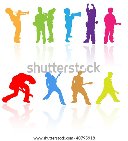 Vector silhouettes with reflection of children playing musical instruments. Easy to edit, any size. - stock vector