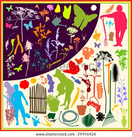 "Vector silhouettes with the theme ""In the Garden""For more silhouettes, see my files #26799640, #13963618, #13360948, #13360951, #14051254, #19737103, #29956426 - stock vector"