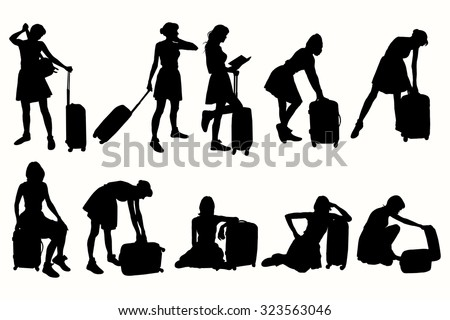 Vector silhouettes women with suitcases.