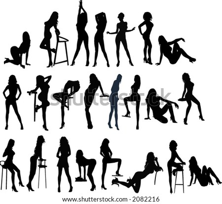 Vector silhouettes young women, illustration