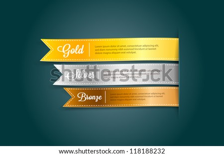 Vector silky ribbon tags collection. Gold, Silver, Bronze - stock vector