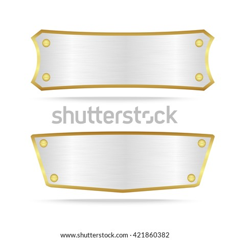Vector silver and gold metal name plate or Silver metal label with screw.Vector illustration - stock vector