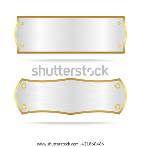 Vector silver and gold metal name plate or Silver metal label with screw.Vector illustration