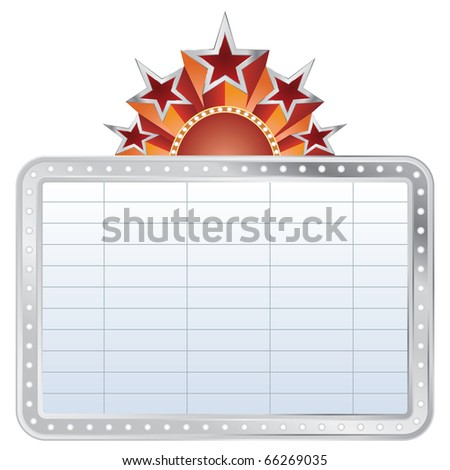 vector silver blank cinema display with stars - stock vector
