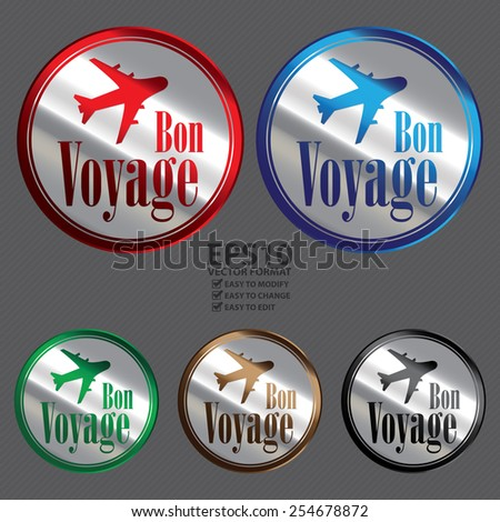 Vector : Silver Circle Metallic Bon Voyage Icon, Label, Button or Sticker - stock vector