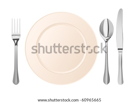 vector silver cutlery and plate on white background - stock vector