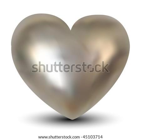 Vector Silver Heart - stock vector