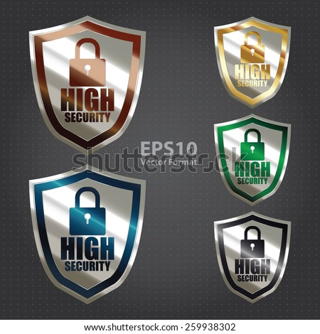 vector : silver metallic high security badge, shield, sticker, sign, stamp, icon, label isolated on white - stock vector