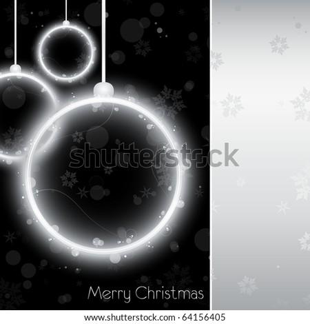 Vector - Silver Neon Christmas Ball Card on Black Background - stock vector