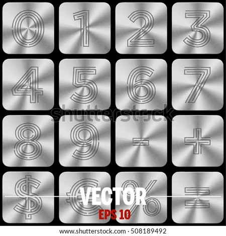 Vector Silver numbers and symbols. (A set of buttons with numbers, currency symbols and arithmetic operations.)