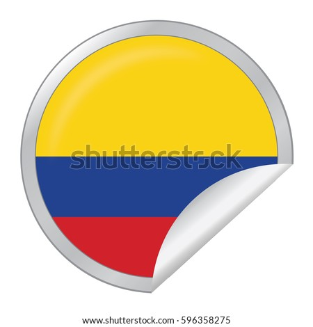 Vector silver sticker with map and flag of the colombia vector eps 10 illustration isolated