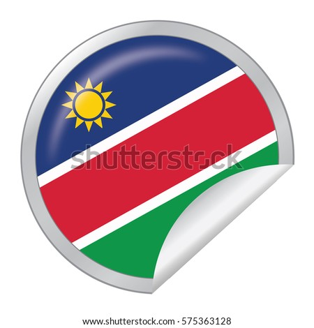 Vector silver sticker with map and flag of the namibia vector eps 10 illustration isolated