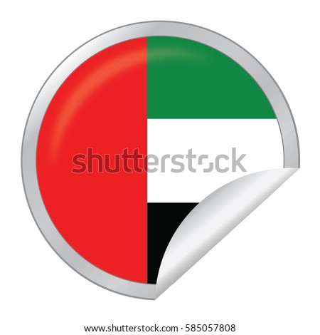 Vector silver sticker with map and flag of the united arab emirates vector eps 10