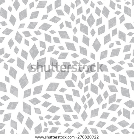 Vector silver textured mosaic tiles seamless pattern background - stock vector