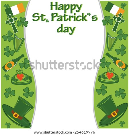 Vector simbols of Saint Patricks day and Ireland clover, beer, hat, glass, ring, cross, flag in concept design background - stock vector