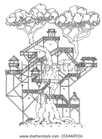 vector simple black on white drawing - BONSAI - tree house line art