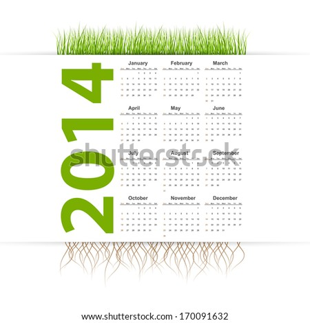 Vector simple 2014 Calendar. Grass style.