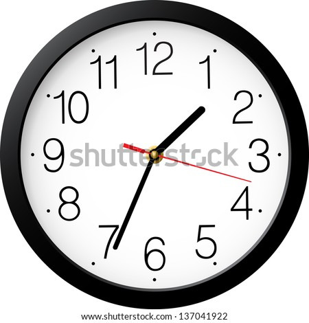 Vector simple classic black and white round wall clock isolated on white - stock vector
