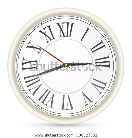 Vector simple classic black and white round wall clock isolated on white background.Clock icon