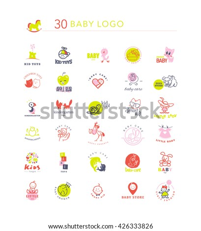 Vector simple flat kid logo set. Baby, child goods, toys store, candy bar, sweet shop logo isolated on white backdrop. Elephant, dolphin, cat, bird, dog, stork, chicken, bunny, castle, boy, girl icon. - stock vector