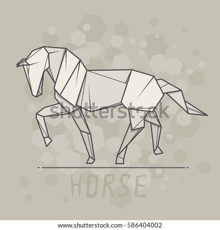 Vector Simple Illustration Paper Origami Of Horse