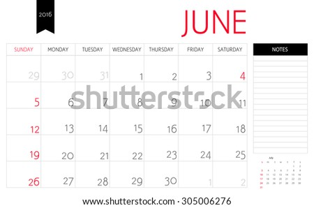 Vector simple planning calendar June 2016 with a place for notes. Weeks start on Sunday - stock vector